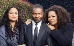 Director Ava DuVernay with actors David Oyelowo and Oprah Winfrey from the movie
