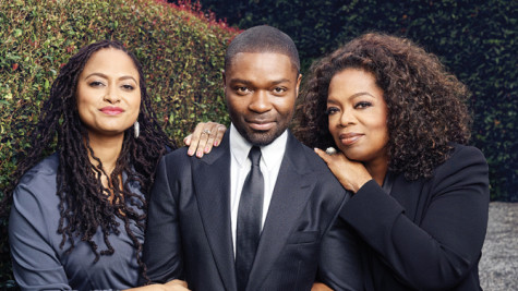 "Director Ava DuVernay with actors David Oyelowo and Oprah Winfrey from the movie ""Selma."""
