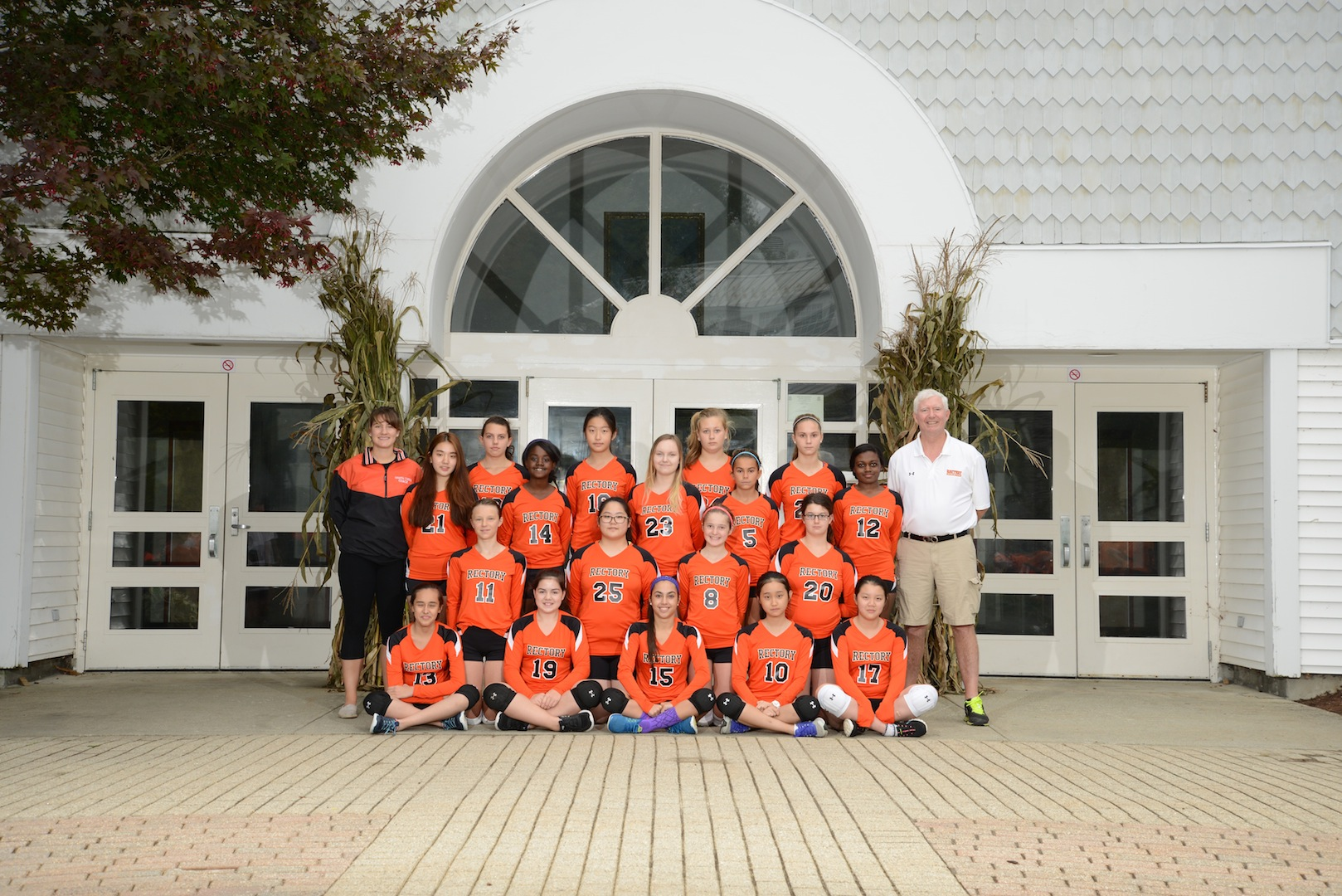 Rectory's first Girls' Volleyball Team from the fall, 2015, with coaches D'Angelo and Healy.