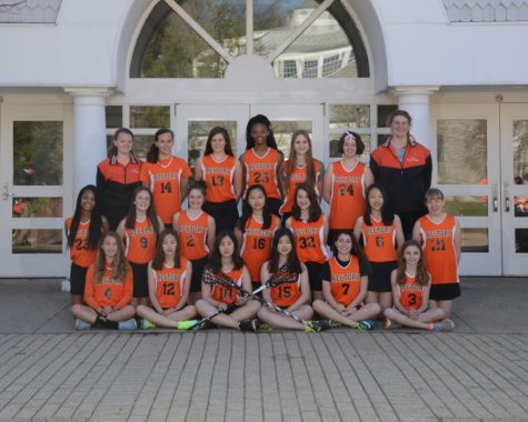 The 2016 Rectory Girls' Lacrosse Team with Coaches Bradley and Minifie.