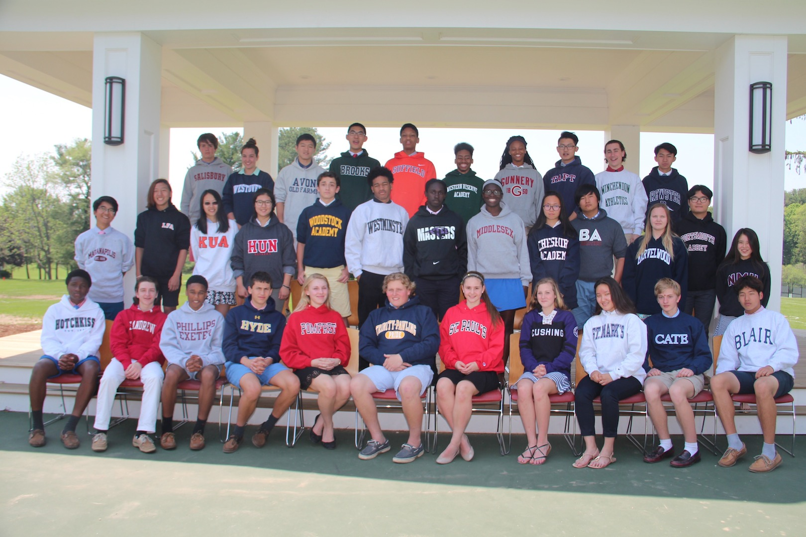 Graduates of Rectory's Class of 2016 wearing the sweatshirts for their new secondary schools.