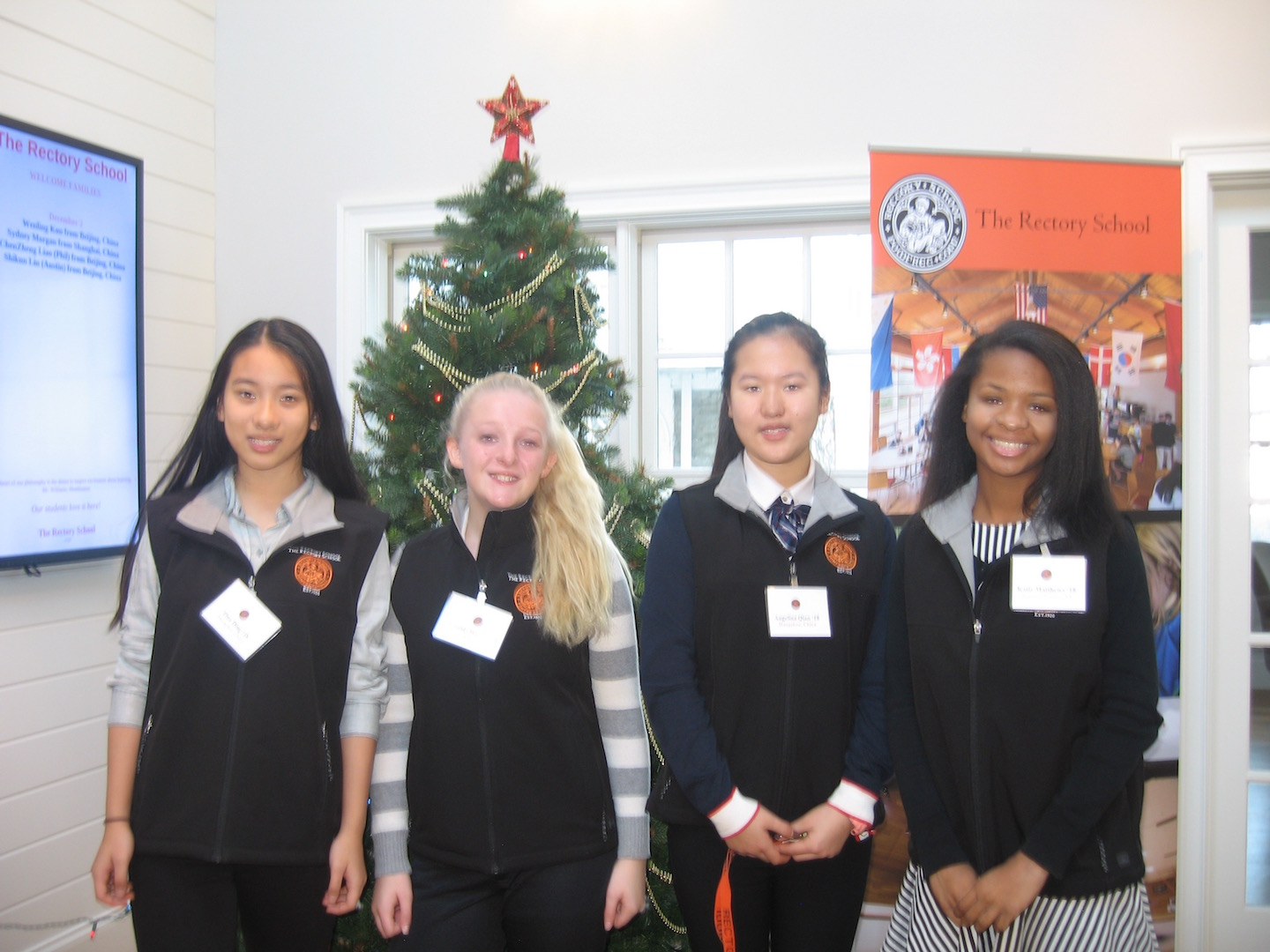 A few of Rectory's current Student Ambassadors, from left to right, Tina D., Kassidy W., Angelina Q., and Katie M.