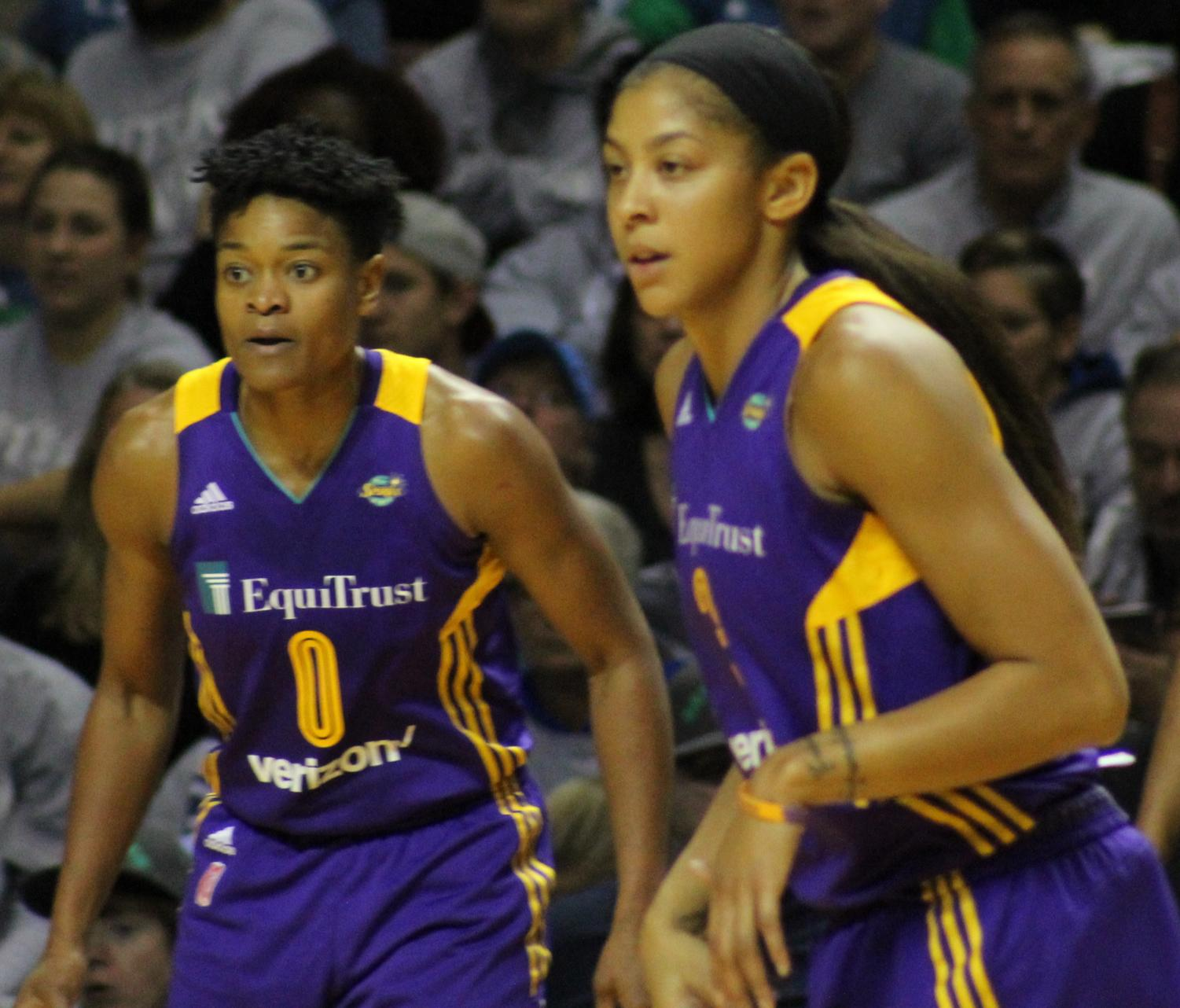 Candace Parker and Riquna Williams of the Los Angeles Sparks, two WNBA players.