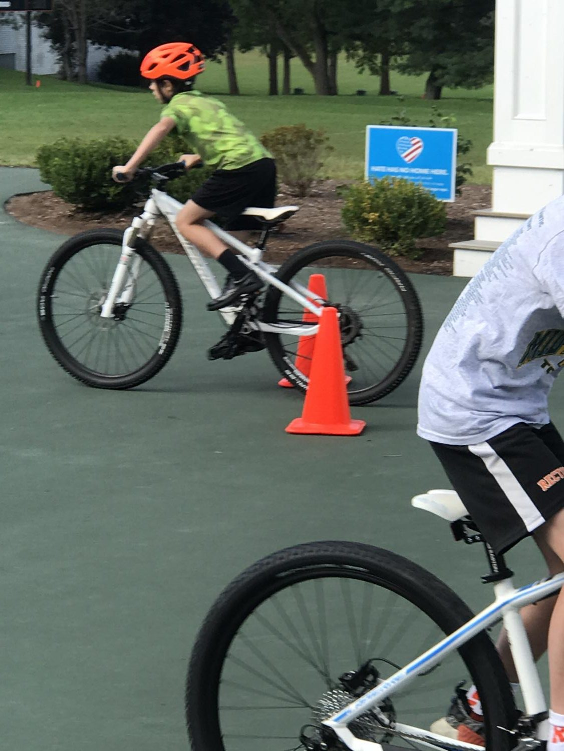 Students practice their mountain-biking skills on an obstacle course created to prepare them for riding on the trails. (Photos taken by Mrs. Walsh of Rectory's Communications  Dept.)