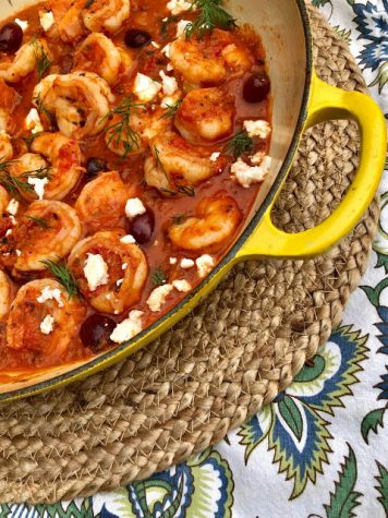 Mediterranean Shrimp with Feta and Kalamata Olives over Orzo