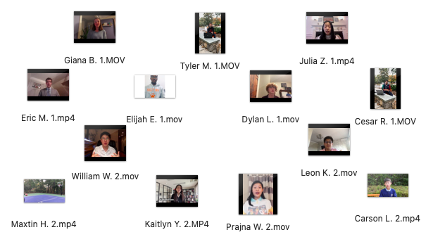 A screenshot of the mpg video files for the student council candidates' pre-recorded speeches.