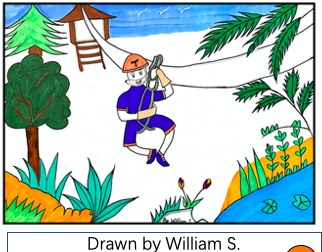 """Ziplining in Thailand"" (Drawn by William S.)"