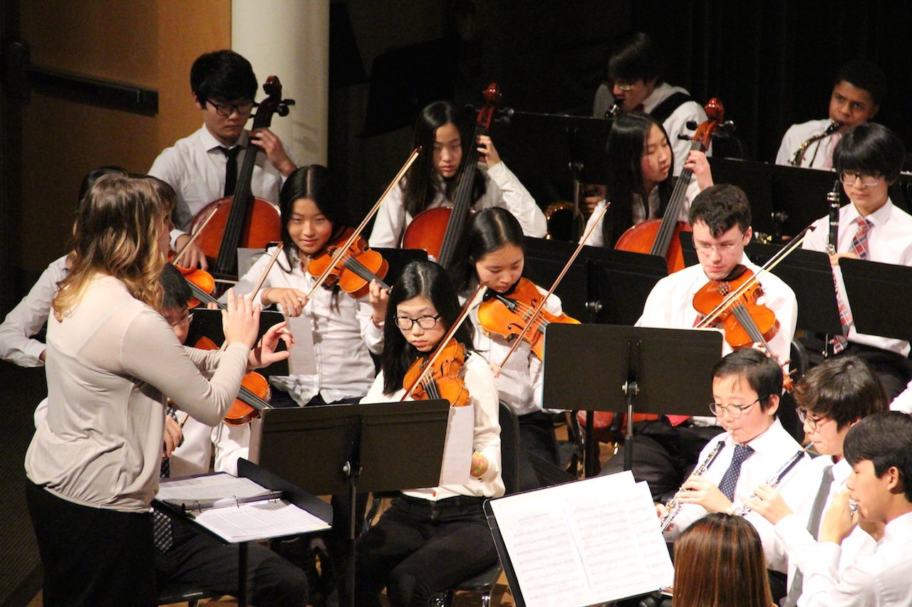 Orchestra Director, Samantha D'Angelo, conducts the Rectory Middle School Orchestra at last week's Pops Concert.