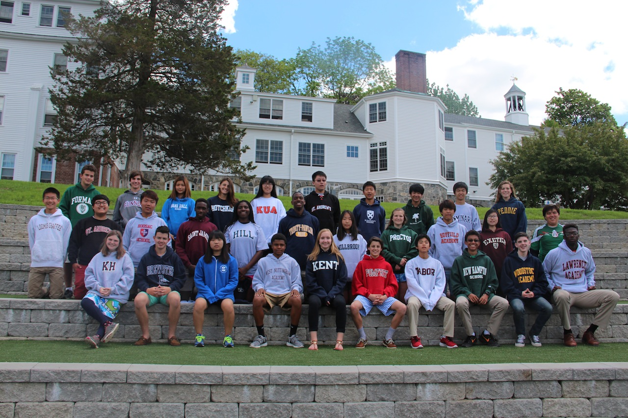 The graduates of the Rectory Class of 2015 wearing the sweatshirts of their chosen secondary schools.