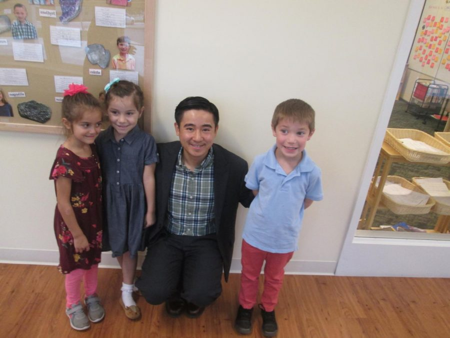 Mr. Li with some of his elementary students.