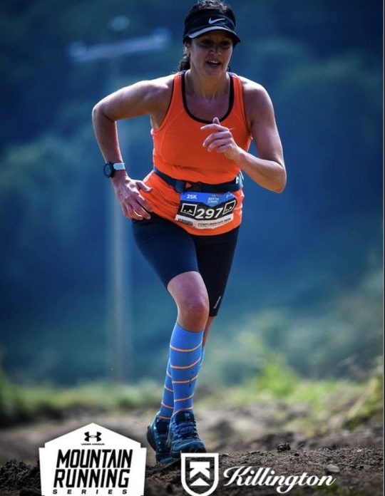 A photo of Ms. DiIorio running in a 25-K race up Killington Mountain in Vermont, which she used to train for her Chicago marathon.