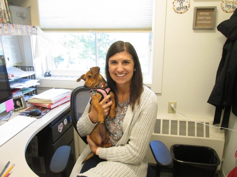 Mrs. Romero with her new puppy, Delilah.