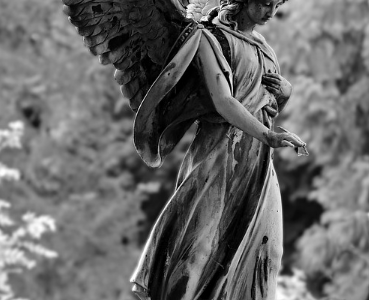Photo of an angel with beautiful wings.