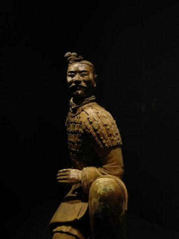 """This sculpture is one of the soldiers in the famous Chinese Terracotta Army. These sculptures date all the way back to the late third century BCE. They depict the army of Qin Shi Huang, the first Emperor of  China, and they were used as funeral art for his afterlife. The Terracotta Army is hailed as """"The Eighth Wonder of the World."""""""